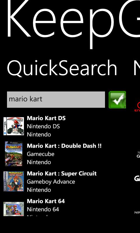 KeepGames Gérer sa collec sur Windows Phone Quicks10