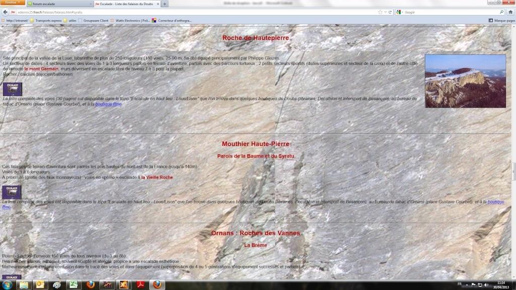 grimpe Haut-Doubs (25) site des gorges de la Loue: conseils Falais11