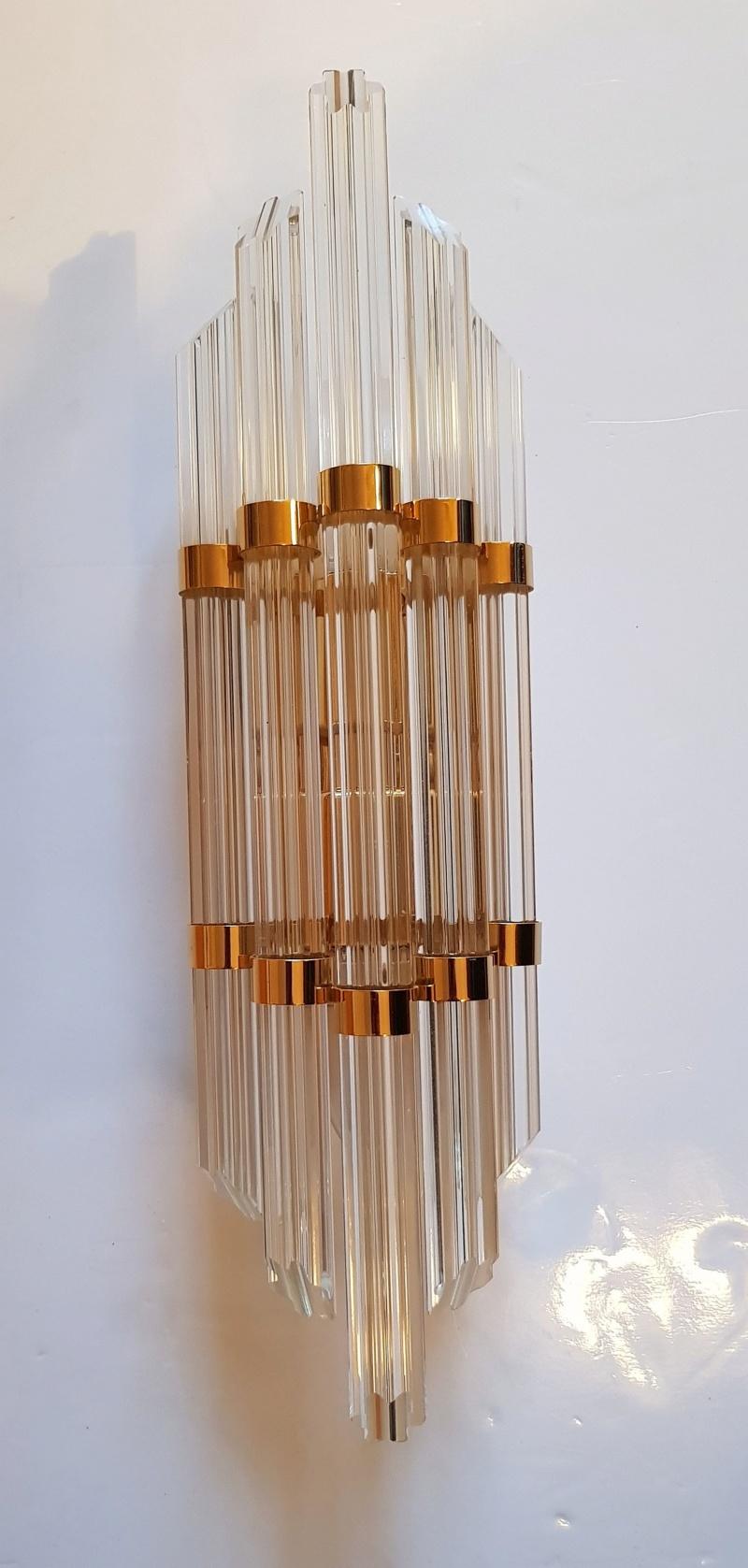 Applique en laiton et tubes verres lobés de VENINI MURANO 20190137