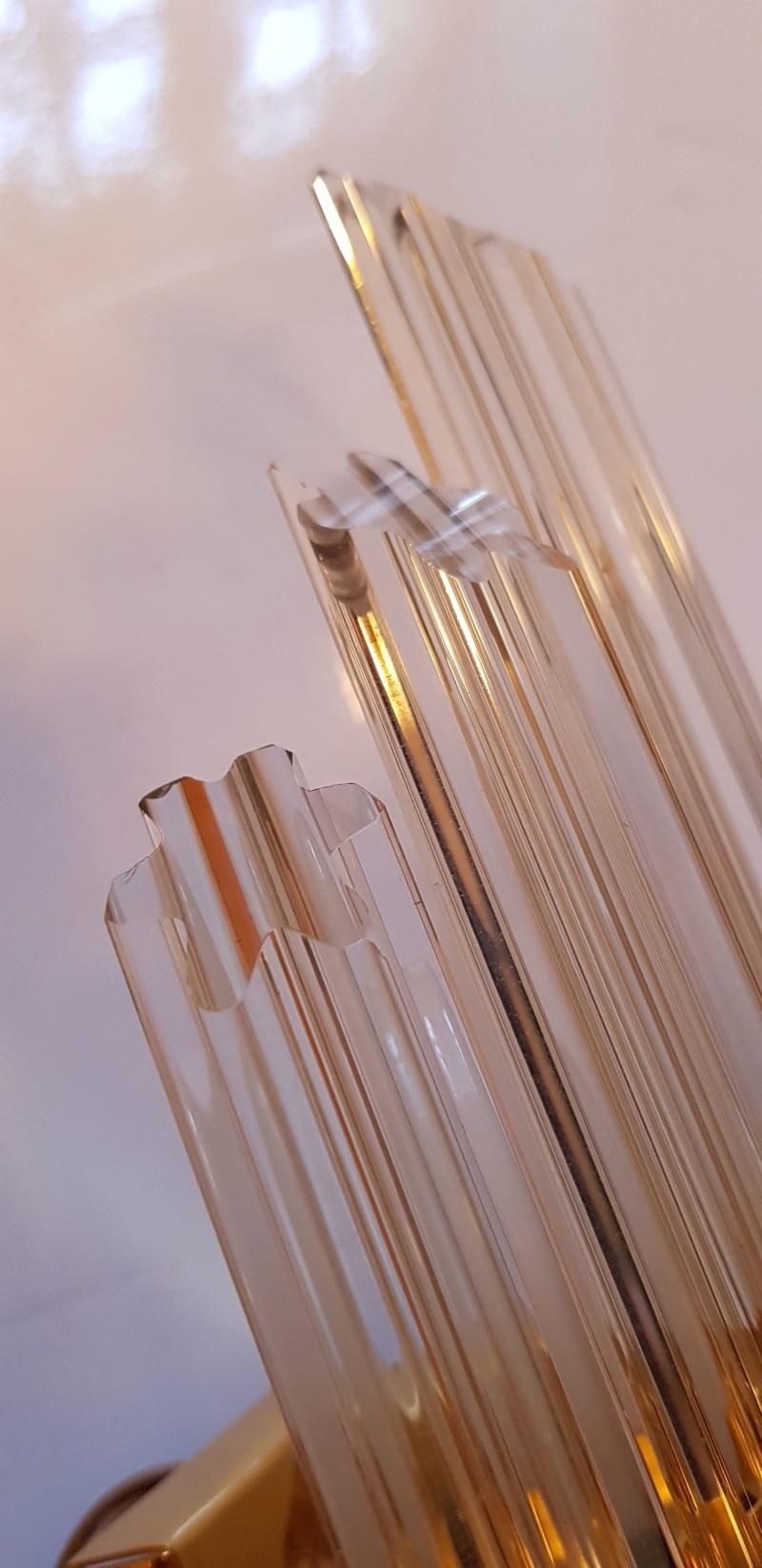 Applique en laiton et tubes verres lobés de VENINI MURANO 20190138
