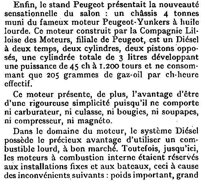 Le moteur diesel de Peugeot Junkers en 1930 Export69
