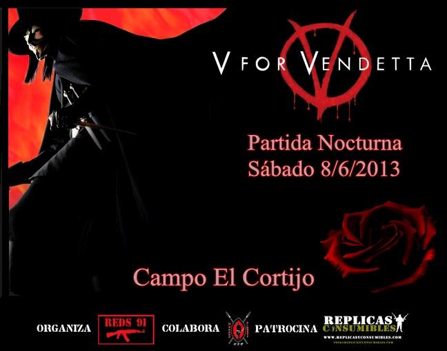 """NOCTURNA """"V DE VENDETTA"""" SÁBADO 8/6/2013 EL CORTIJO Cartel11"""