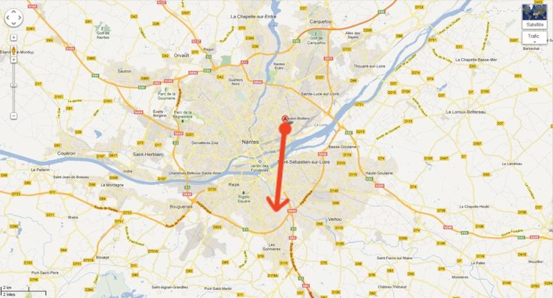 2013: le 03/05 à 5H30 du matin - Lumière étrange dans le ciel  - Nantes - Loire-Atlantique (dép.44) Carte15