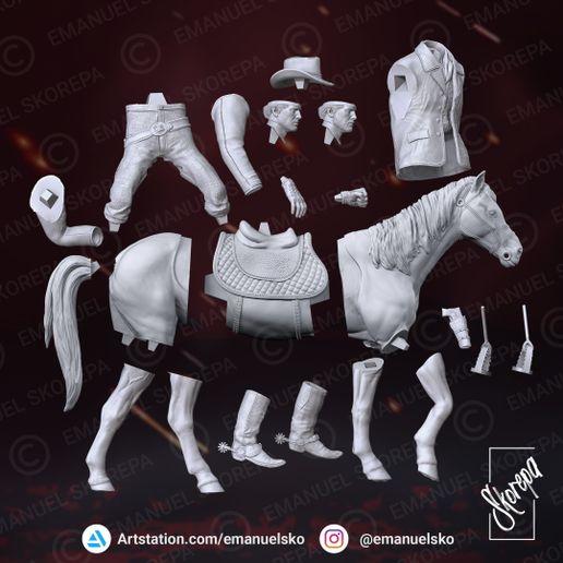 """Figurine 3D résine au 1/24  Arthur Morgan du jeux PS4  """"red dead redemption"""". 617"""