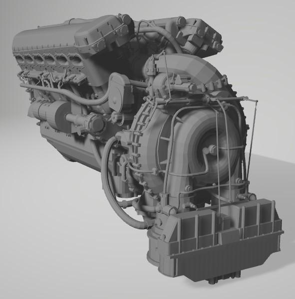 Rolls-Royce Merlin engine résine 1/24 Captu138