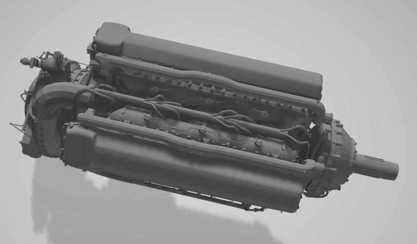 Rolls-Royce Merlin engine résine 1/24 Captu139
