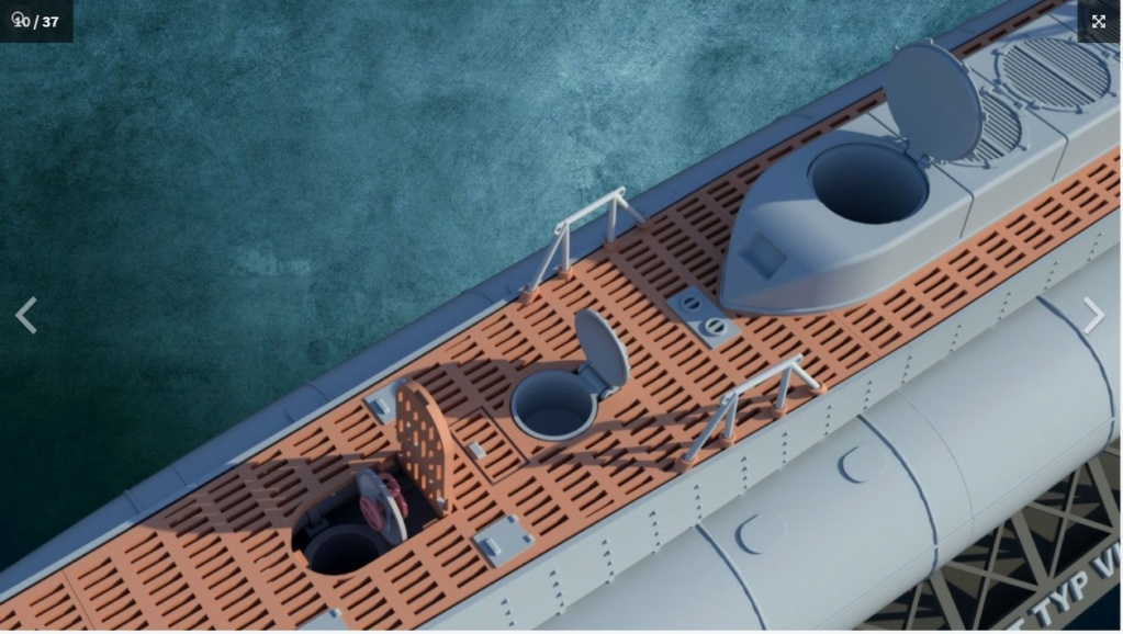 Sous-marin U-Boat VIID résine 3D au 1/100 Captur17