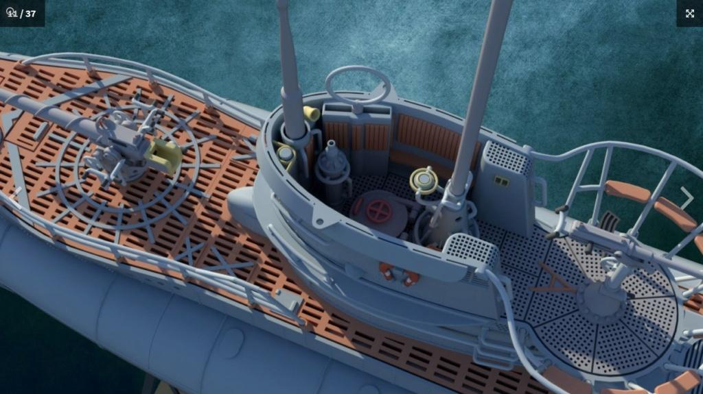 Sous-marin U-Boat VIID résine 3D au 1/100 Captur18