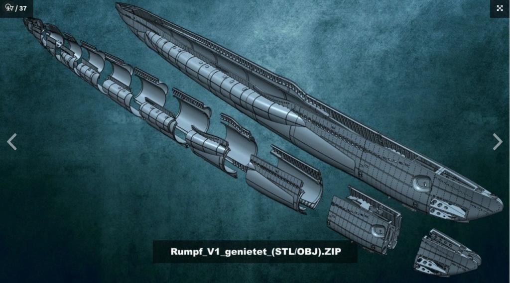 Sous-marin U-Boat VIID résine 3D au 1/100 Captur24