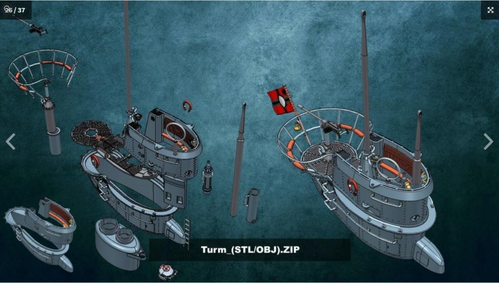 Sous-marin U-Boat VIID résine 3D au 1/100 Captur26