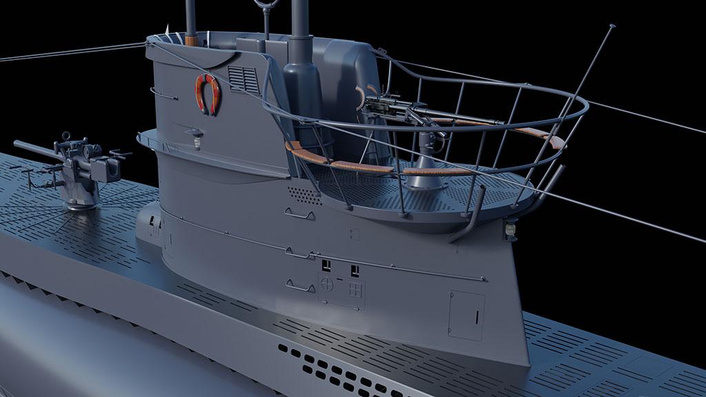 Sous-marin U-Boat VIID résine 3D au 1/100 D5ba7210