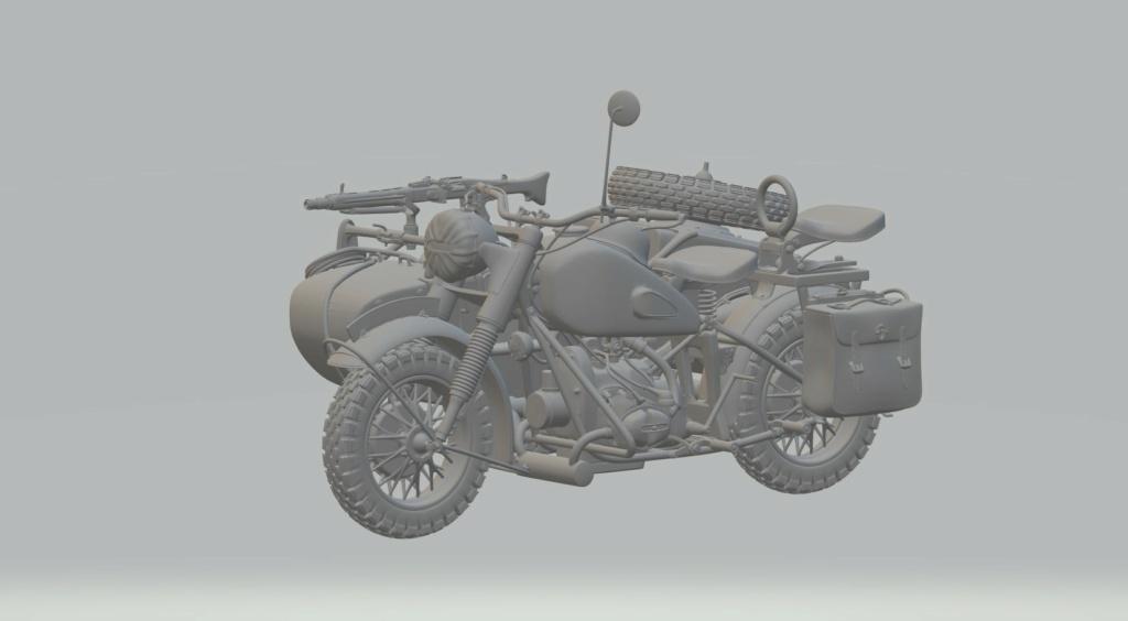 Moto R75 avec side et figurines pièce à pièce. R7510