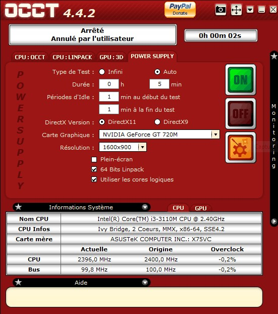 OCCT Tester l'alimentation ou Power Supply Annota11