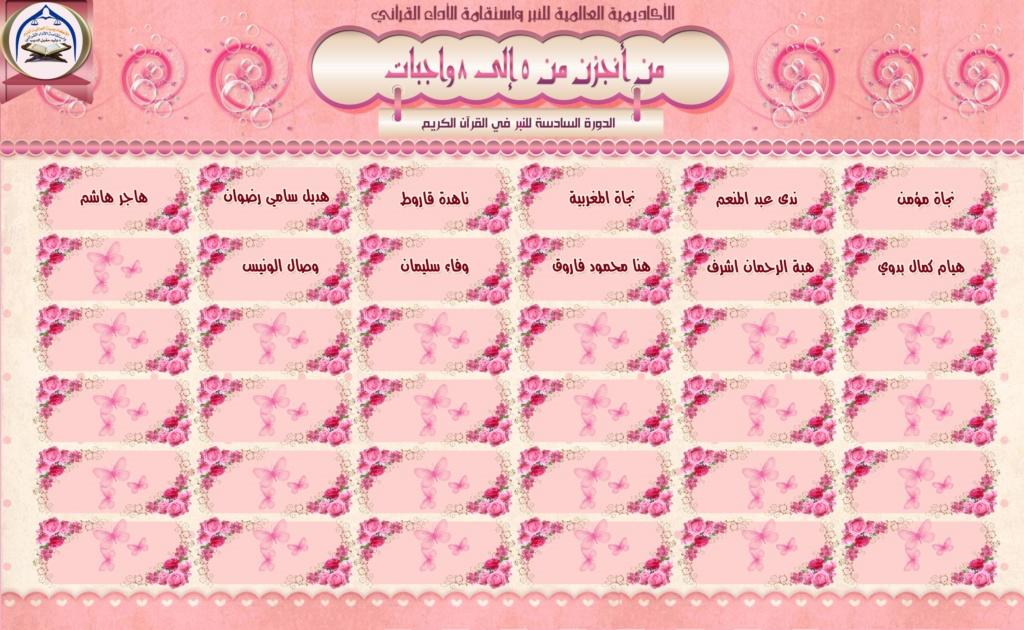 تكريم لجان وطالبات الدورة السادسة للنبر واستقامة الأداء القرآني A310