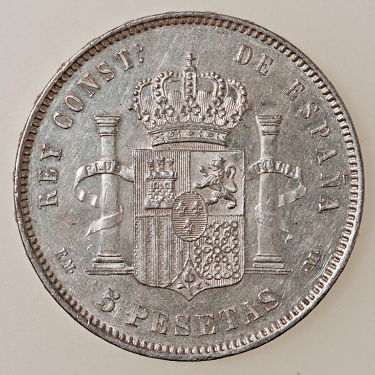 5 pesetas 1878. Alfonso XII. EM M _pas4412