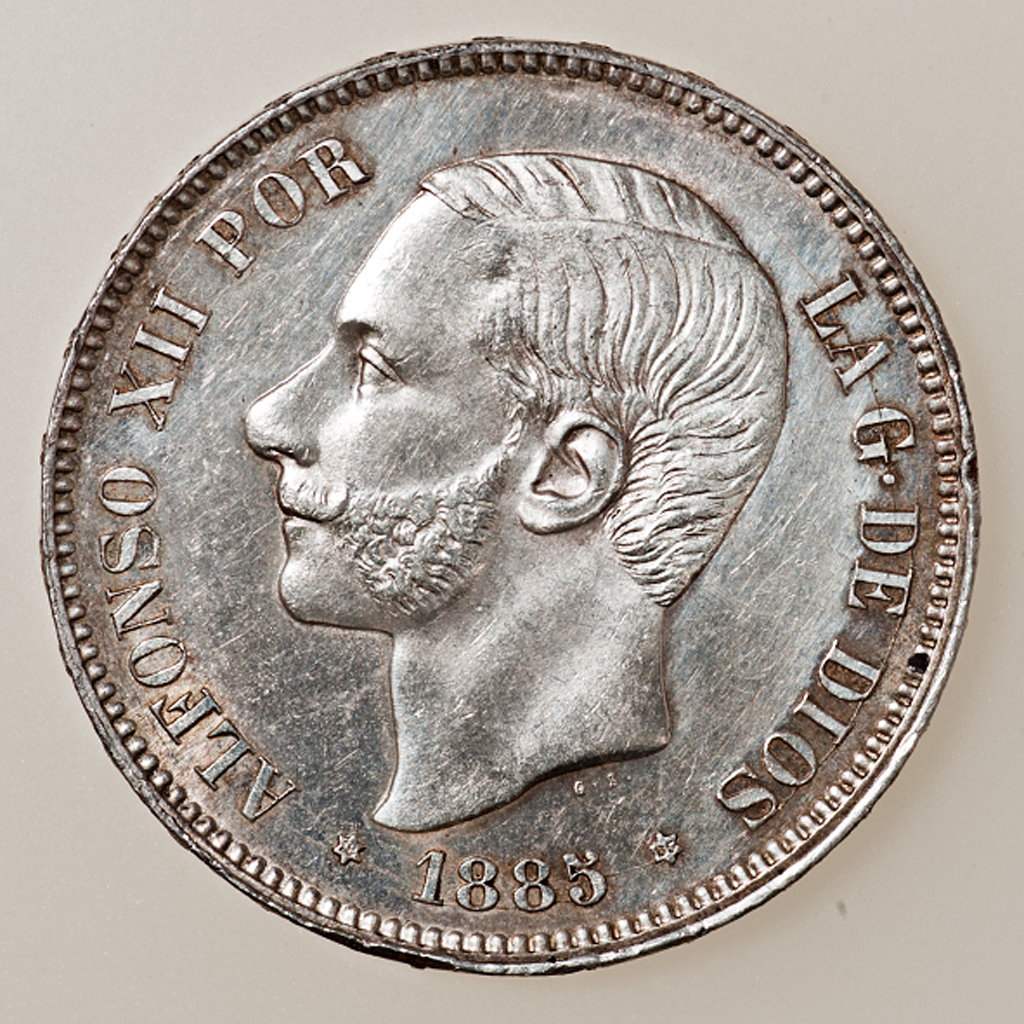 5 pesetas 1885 (*18-85). Alfonso XII _pas4413