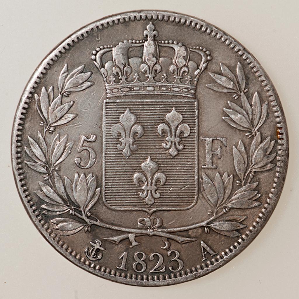 5 Francos Louis XVIII 1823 París _pas4526