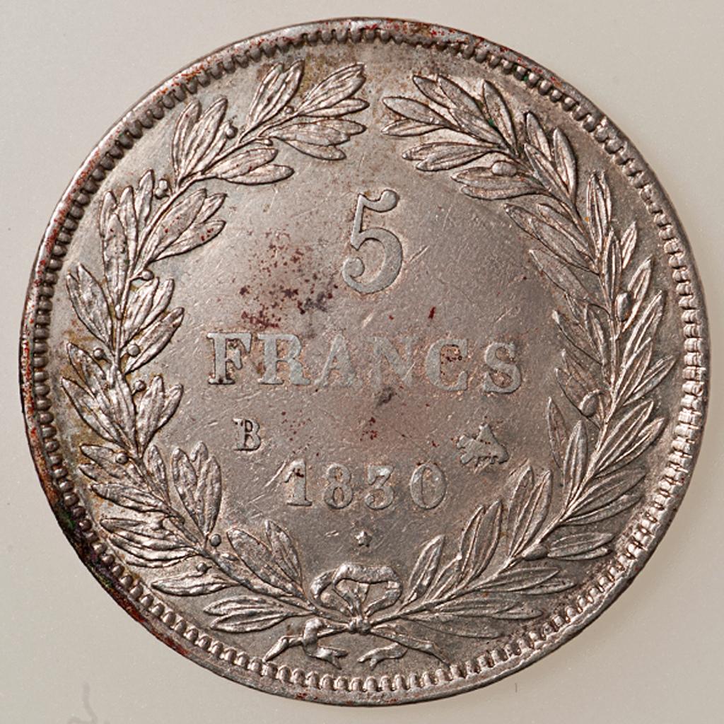 5 francos Louis Philippe I 1830 Rouen (cabeza desnuda) _pas4530