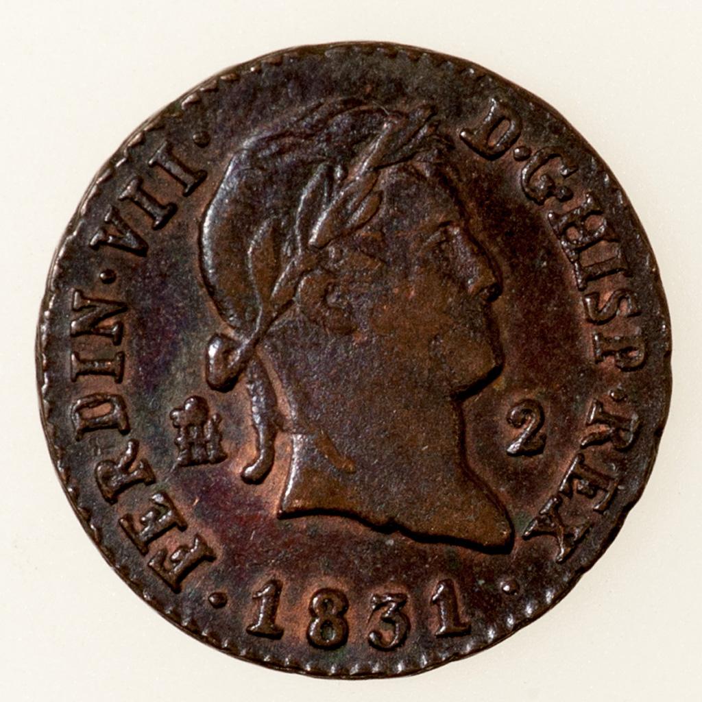 2 Maravedis 1831. Fernando VII. Segovia _pas4610