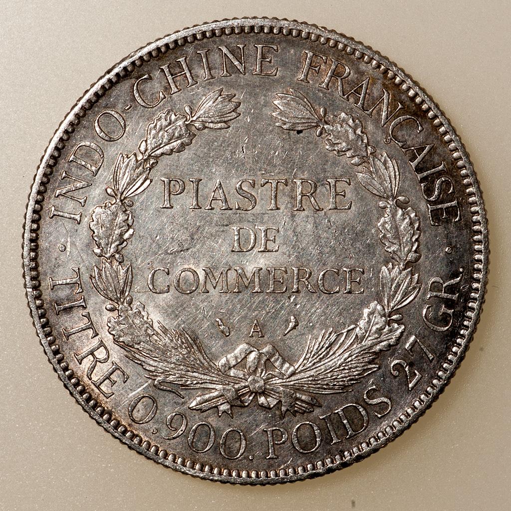 Piastra de Comercio Indochina Francesa 1927. Dedicada a 10 pfennig _pas4614