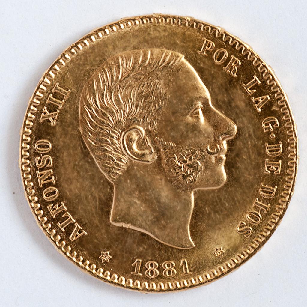25 pesetas 1881 (*18-81).Alfonso XII . Dedicada a txabs. _pas4618