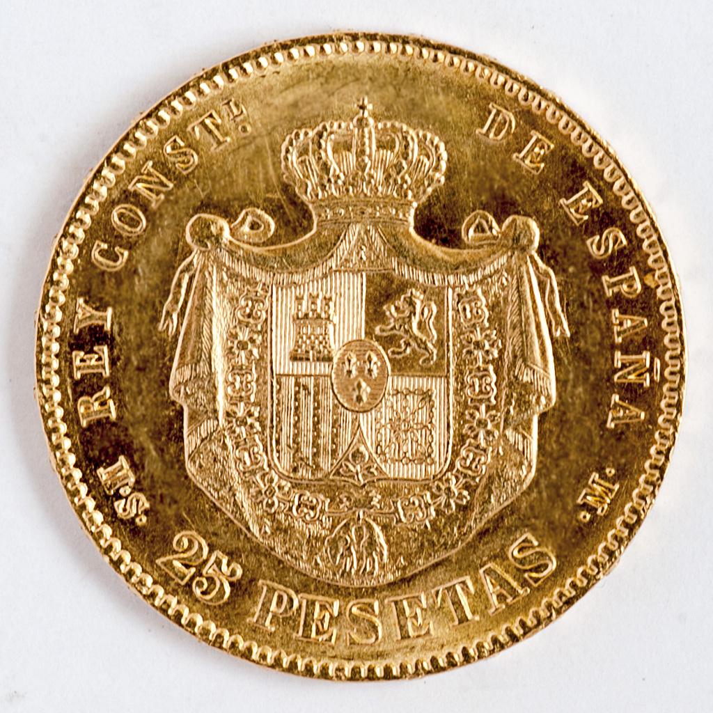25 pesetas 1881 (*18-81).Alfonso XII . Dedicada a txabs. _pas4619