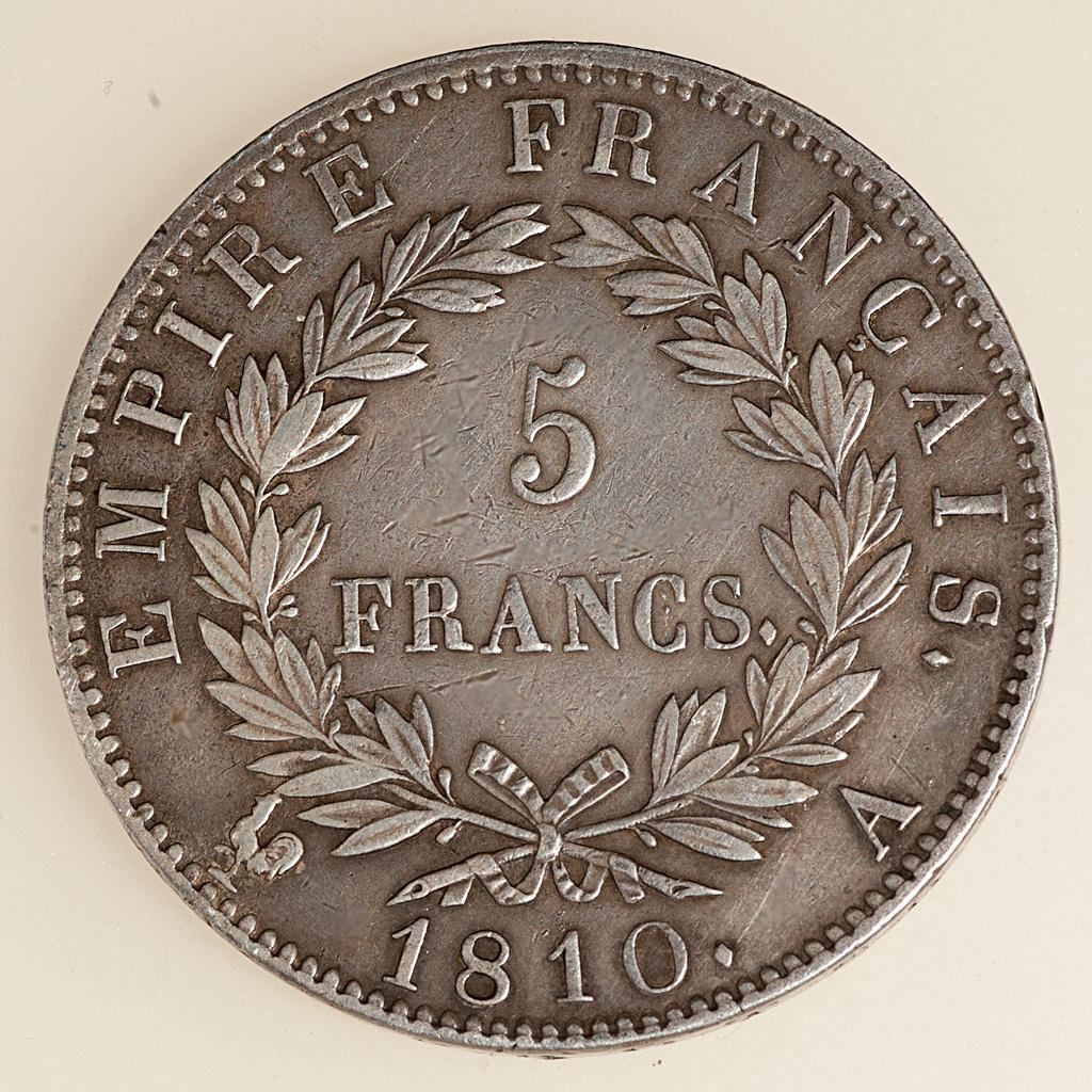 5 Francos Napoleón I Emperador 1810 (busto laureado) _pas4719