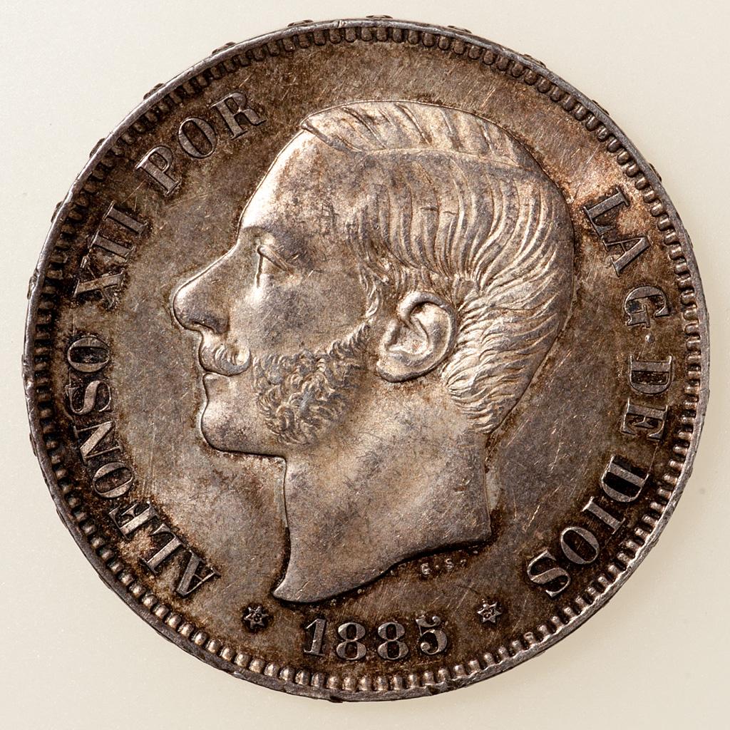 5 pesetas 1885 (*18-87). Alfonso XII. MPM _pas4727