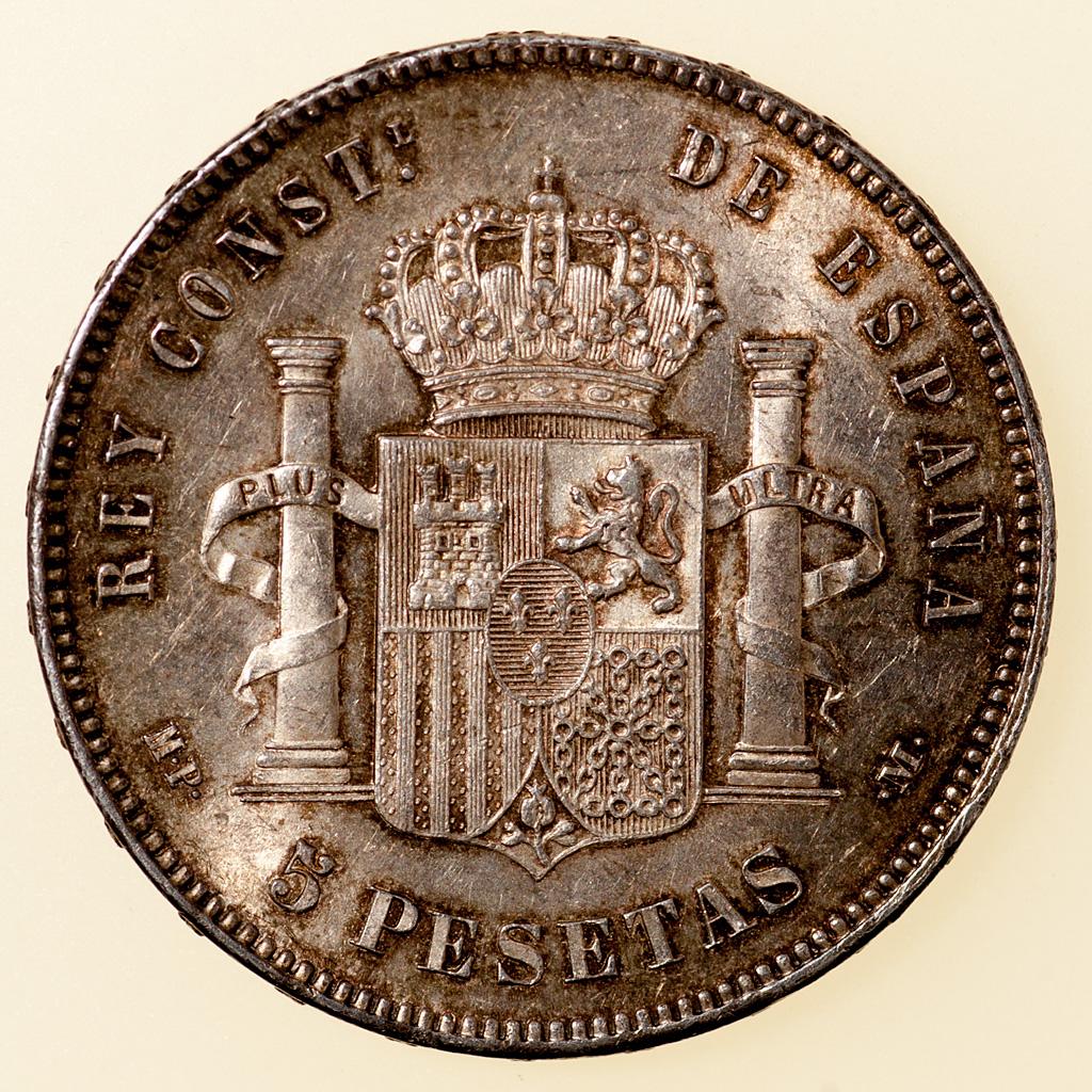 5 pesetas 1885 (*18-87). Alfonso XII. MPM _pas4728