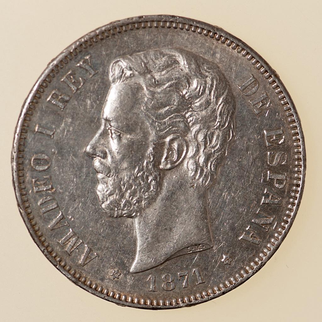 5 pesetas 1871 (18*75). Amadeo I _pas4730