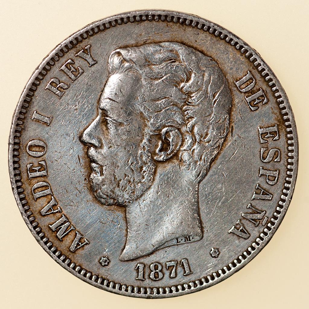 5 pesetas 1871 (*18-18). Amadeo I  _pas4814