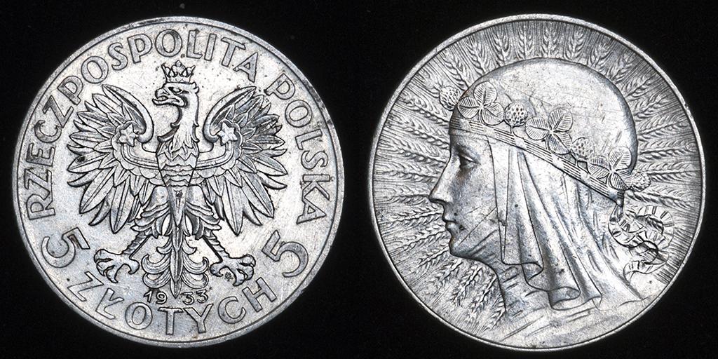 5 zlotych Polonia 1933 (Reina Jadwiga) _pas6512