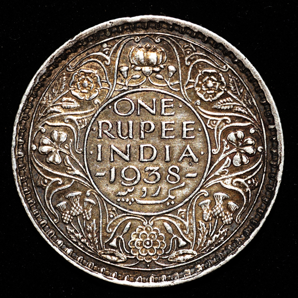 1 rupia Jorge VI India Británica 1938. Dedicada a 10 pfennig. _pas6520