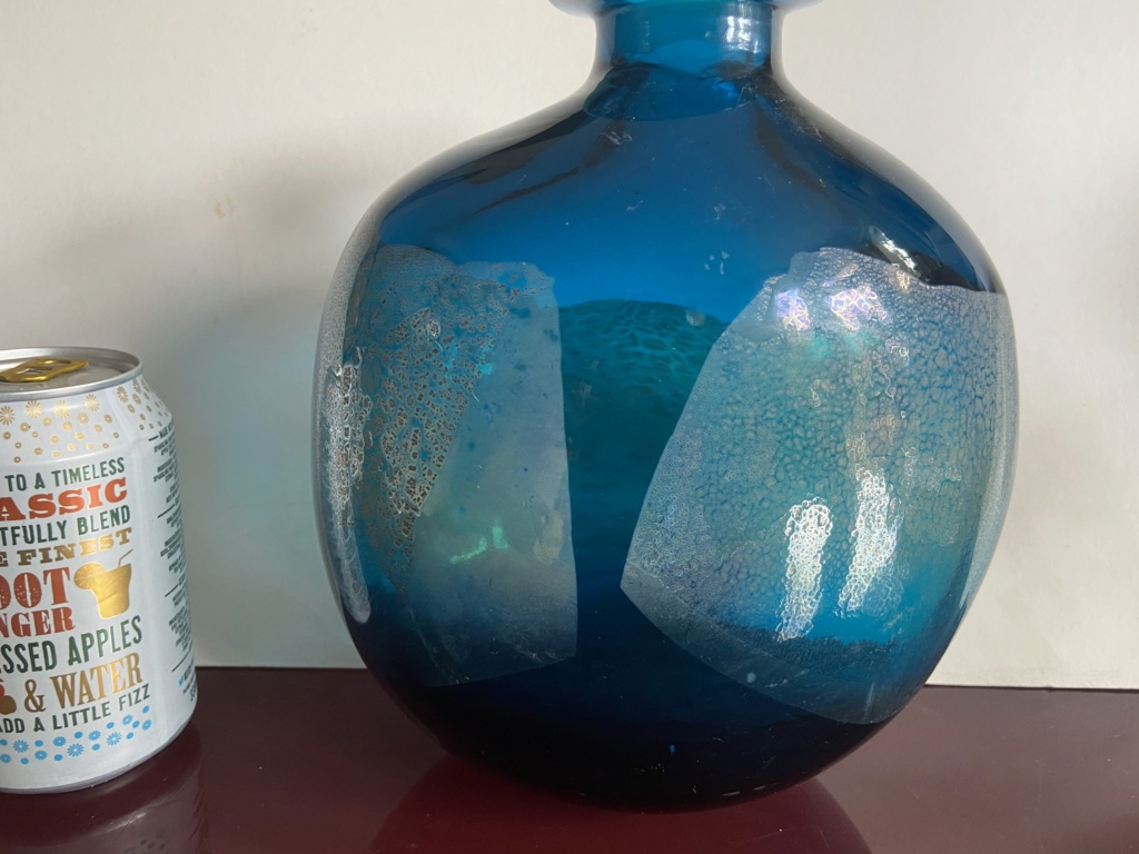 Isle of Wight or Murano - Cobalt foil Bottle vase 4c5e7110