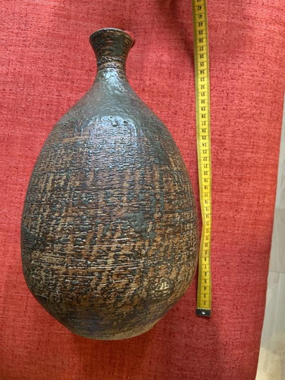 N mark? Large Stoneware bottle vase  B482af10