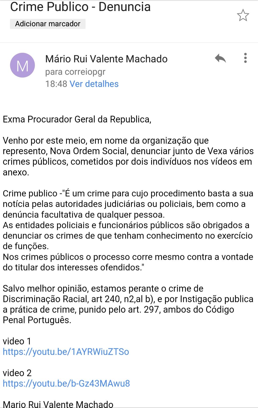 Nova Ordem Social - Apresenta queixa crime contra negros racistas  20190117