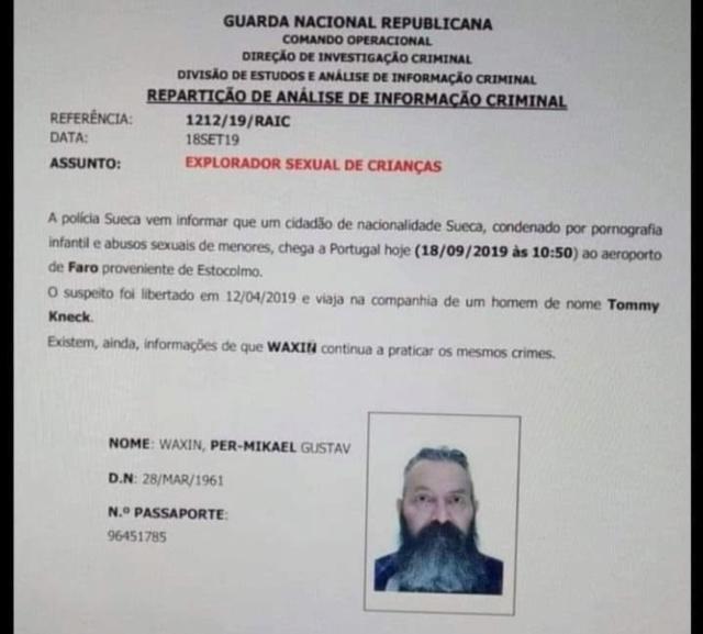 ALERTA - Pedófilo Sueco cadastrado chega ao Algarve  Scree161
