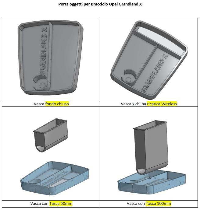 Vasca porta oggetti per bracciolo centrale Modell11