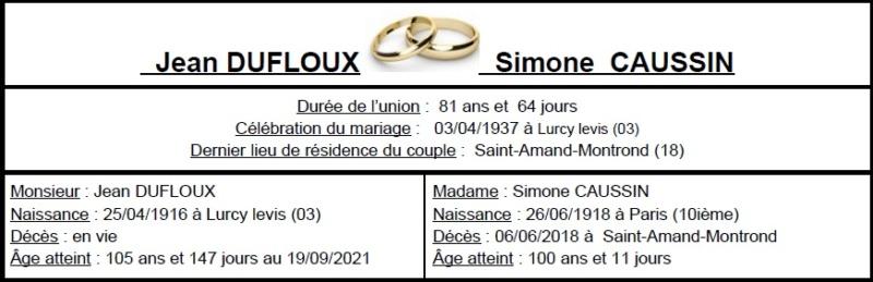 E- LES PLUS LONGS MARIAGES FRANÇAIS Duflou10