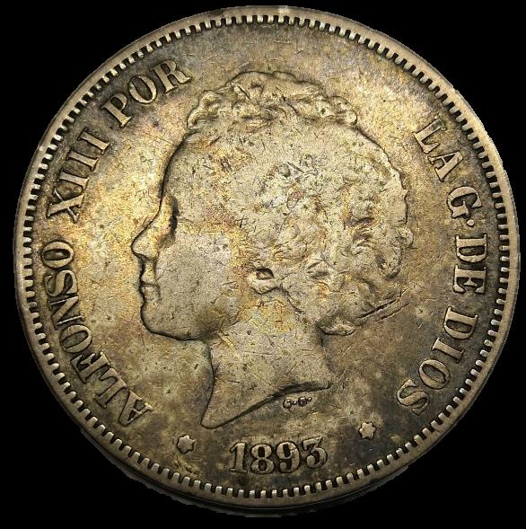 5 Pesetas Alfonso XIII 1893 Alf2_210