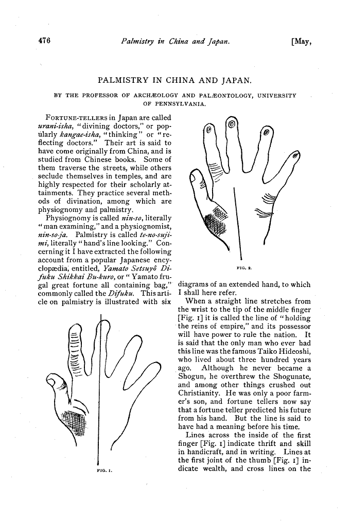 Stewart Culin - Palmistry in China and Japan 110