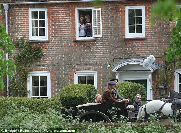 George Clooney filming at RAF/Imperial War Museum Duxford in Cambridgeshire Filmin16