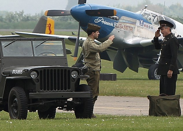George Clooney filming at RAF/Imperial War Museum Duxford in Cambridgeshire Filmin17
