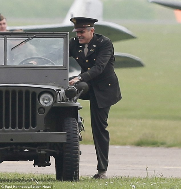 George Clooney filming at RAF/Imperial War Museum Duxford in Cambridgeshire Filmin18