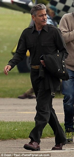 George Clooney filming at RAF/Imperial War Museum Duxford in Cambridgeshire Filmin19