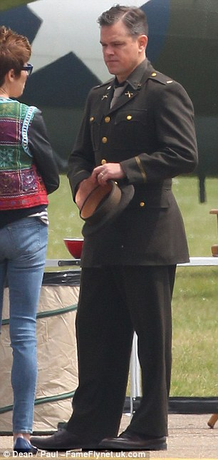 George Clooney filming at RAF/Imperial War Museum Duxford in Cambridgeshire Filmin20