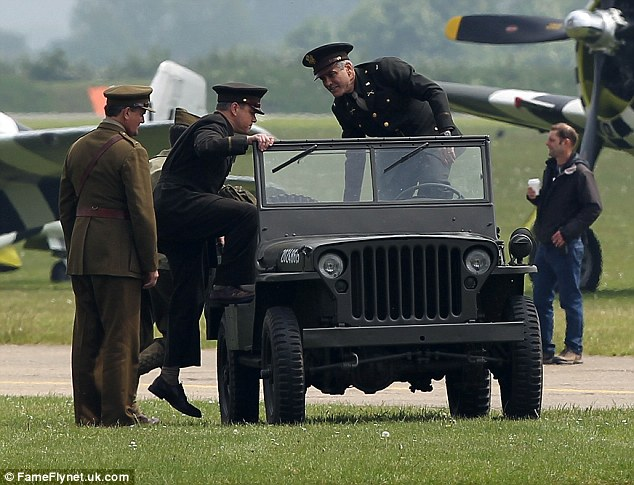 George Clooney filming at RAF/Imperial War Museum Duxford in Cambridgeshire Filmin21