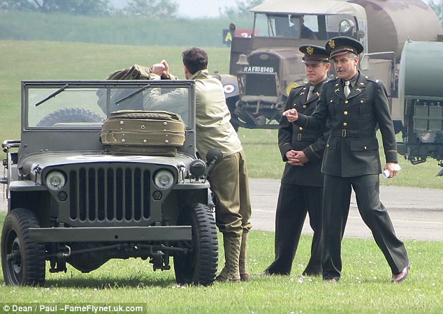 George Clooney filming at RAF/Imperial War Museum Duxford in Cambridgeshire Filmin23