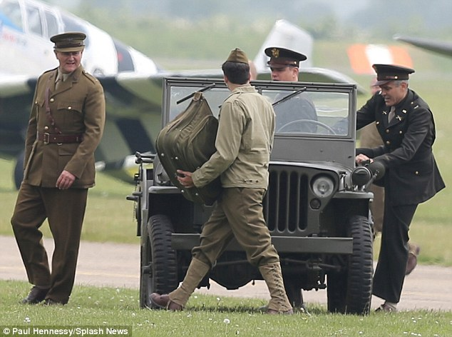 George Clooney filming at RAF/Imperial War Museum Duxford in Cambridgeshire Filmin24