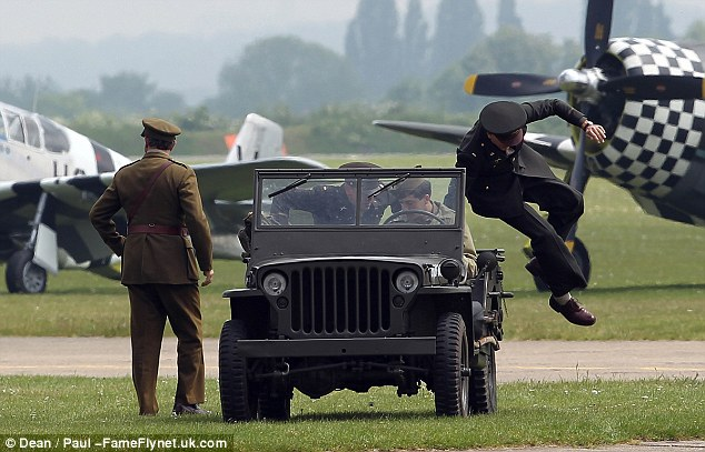 George Clooney filming at RAF/Imperial War Museum Duxford in Cambridgeshire Filmin25